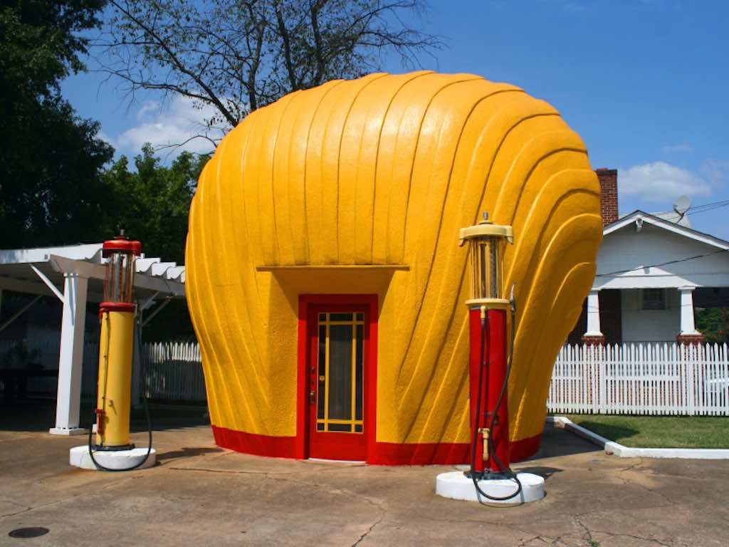 "Shell-Shaped Gas Station, North Carolina - by Chuck Coker - ""Caveman Chuck"" Coker:Flickr"