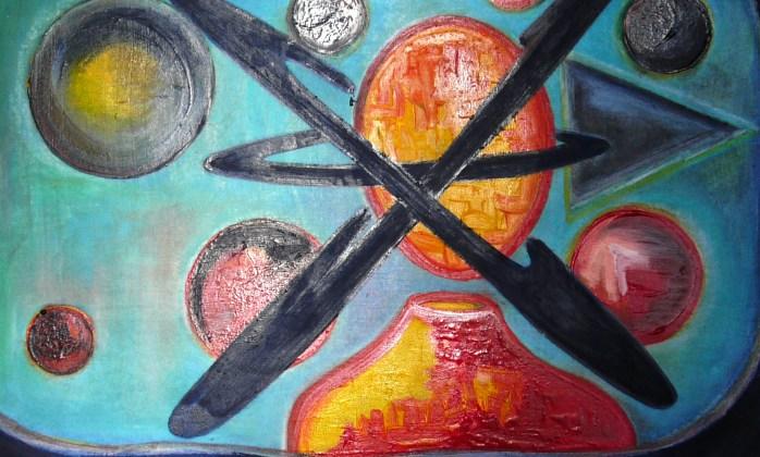 simple is the human UNIVERSUM Painting: 1500 Euro Oil on Canvas 66,5 cm x 47 cm x 0,2 cm