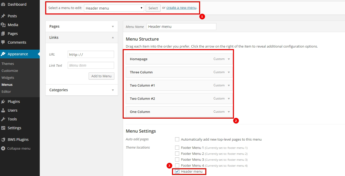 wordpress create top menu
