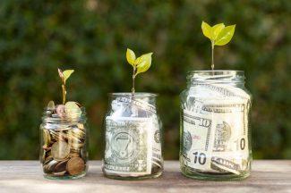 potes-com-dinheiro-dentro-e-folhas-representando-vasos-para-apurar-o-lucro-dos-pequenos-empresarios
