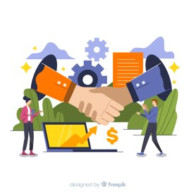 ilustracao-de-maos-dadas-para-simbolizar-a-venda-de-uma-empresa-apos-o-processo-de-due-diligence