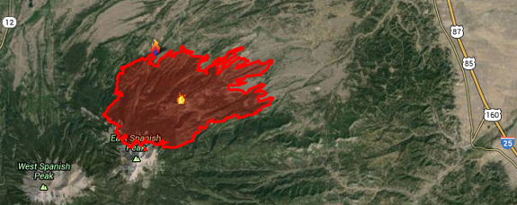 East Peak Fire map image from Inciweb, Tue 6/25/13, 11 AM.