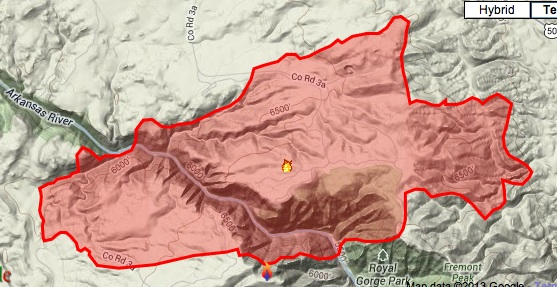 Map of Royal Gorge Fire via Inciweb.