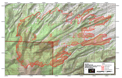 Latest infrared map, taken 6/21/13 (Friday) at around 8:51 PM. via inciweb.