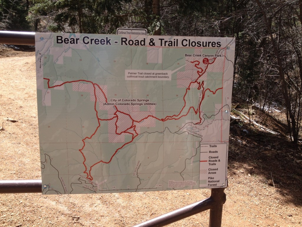 A map of Bear Creek area road and trail closings is posted at the end of High Drive.