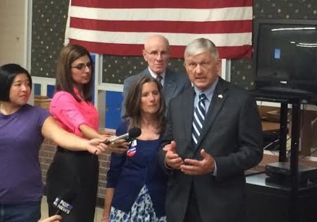 Retired Maj. Gen. Bentley Rayburn, accompanied by his wife Debbi, concedes in the 5th Congressional District.