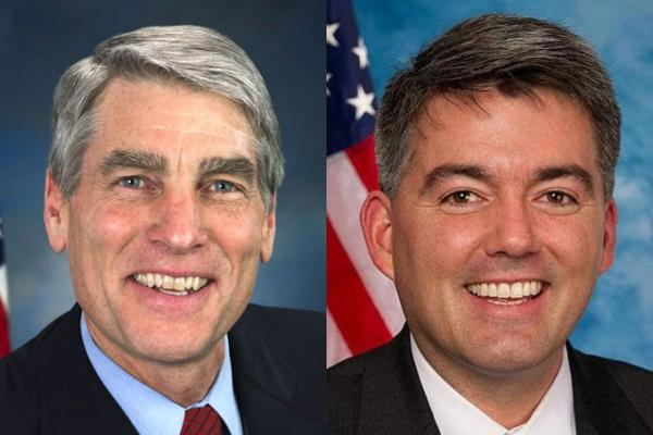 On the left, Democrat Mark Udall, pictured on the right, Republican Cory Gardner.