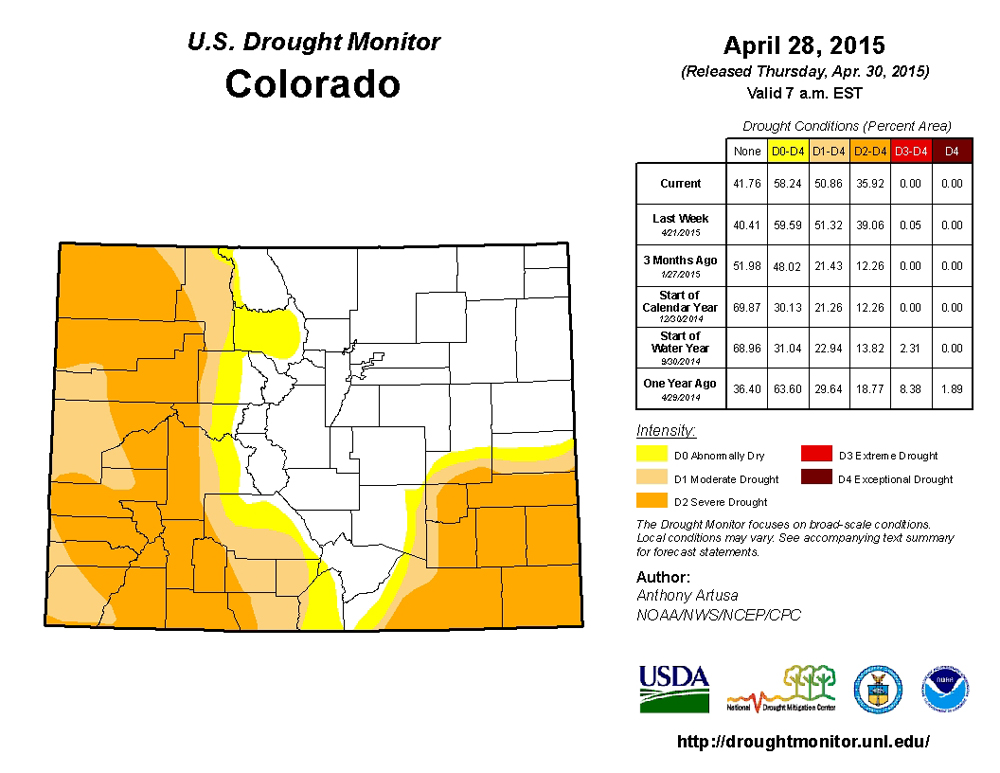 The latest chart from the U.S. Drought Monitor, dated April 28, 2015.