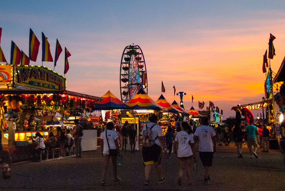 The sun sets over the Colorado State Fair.