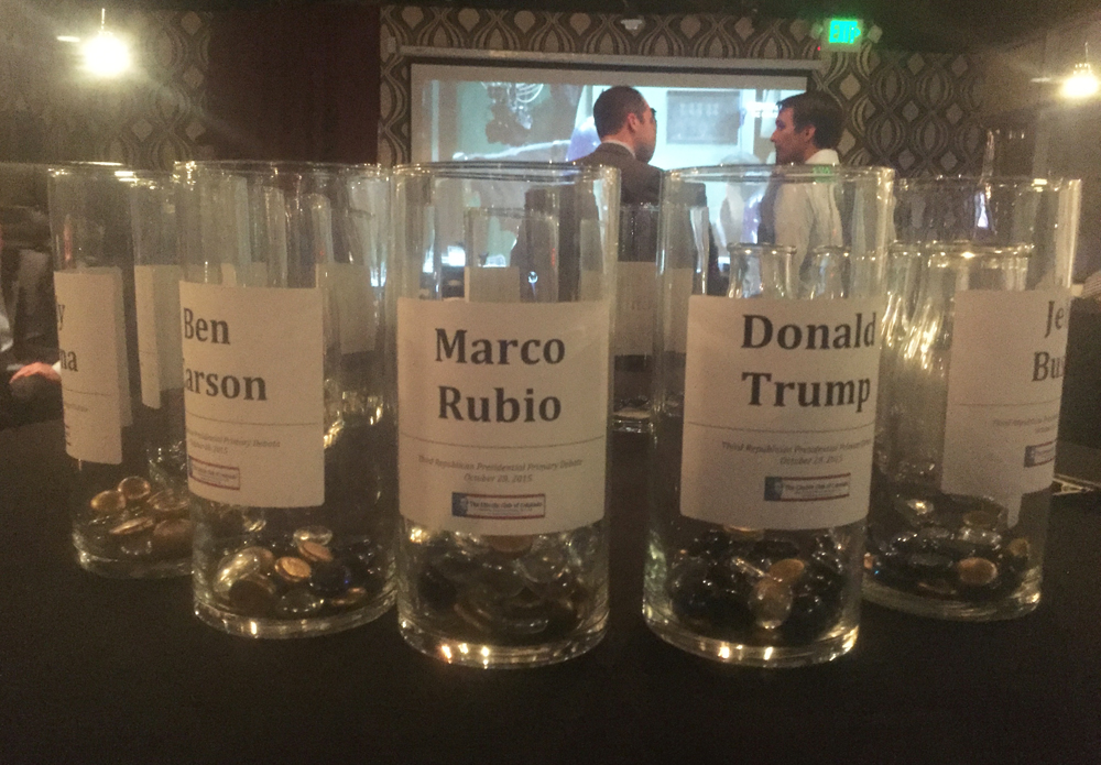 Attendees placed colored glass beads in jars to signify which candidate they supported, the person they thought won the debate and the one who lost it. Rubio had the most support and was voted the winner. Trump was voted the debate's loser.