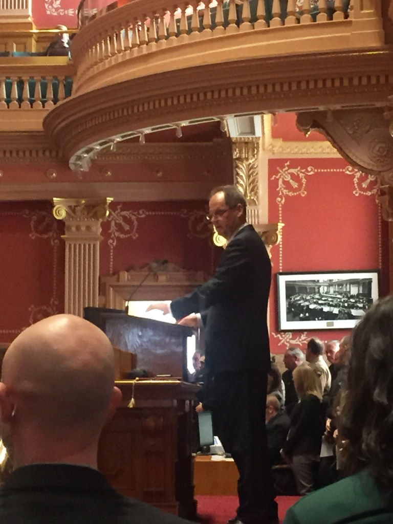 Senate President Bill Cadman (R-Colorado Springs) delivers his opening day speech. He's one of eight legislators in the Senate term limited after this session.