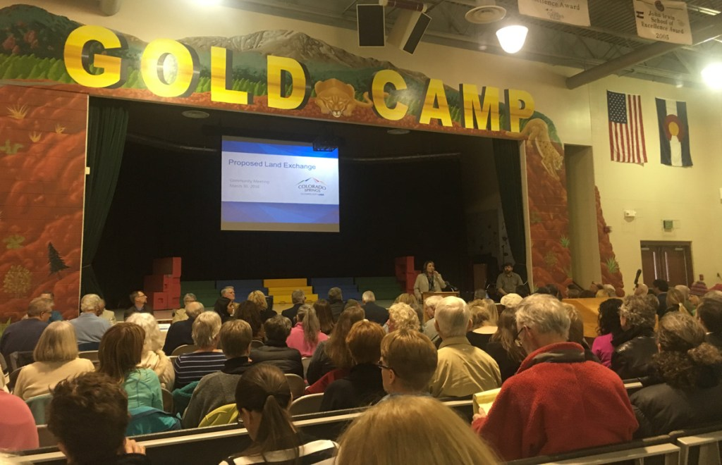 Residents packed the gym at Gold Camp Elementary School to hear about the details in a proposed land swap between the city and the Broadmoor.