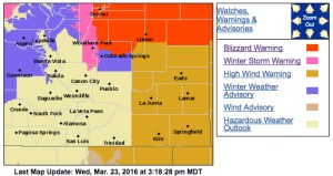 A blizzard warning remains in effect for northern El Paso County until 8 PM.