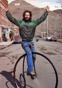 "Mike Rust on an ""ordinary,"" aka penny farthing in Salida"