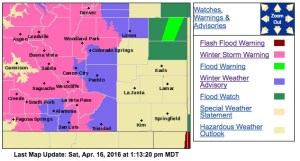 Winter returns to Colorado; Screen shot of active watches and warnings from Saturday, 4/16/16, 1:17 PM