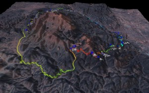 A 3-D view of the Ring the Peak Trail courtesy of topofusion.com.