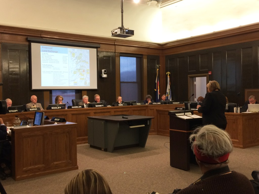 Karen Palus, Parks Director for Colorado Springs, addresses council.