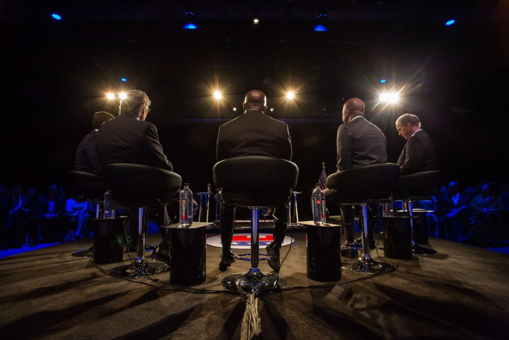 Five GOP Senate candidates debate at a recent 9News event. Used with permission.
