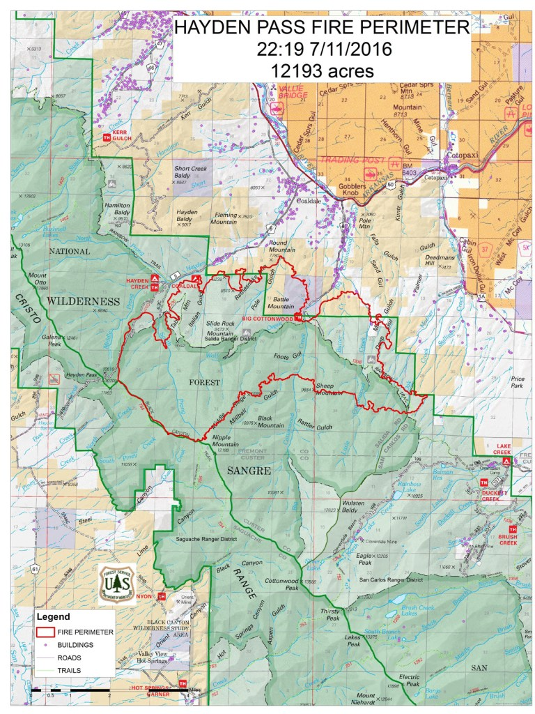 An approximate perimeter of the Hayden Pass Fire as of Monday night.