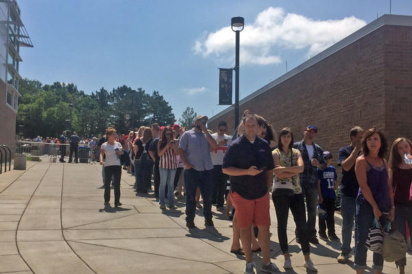 Crowds lining up for Donald Trump at the University of Colorado, Colorado Springs. Hundreds of people didn't make it inside.