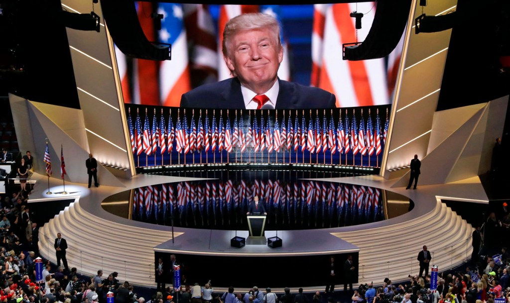 Republican presidential candidate Donald Trump smiles as he addresses delegates during the final day session of the Republican National Convention in Cleveland, Thursday, July 21, 2016.