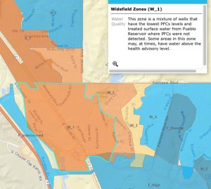 A close-up of this interactive map from the Colorado Department of Public Health and Environment helps show areas of concern. (Description in upper-right hand corner subject to change.)