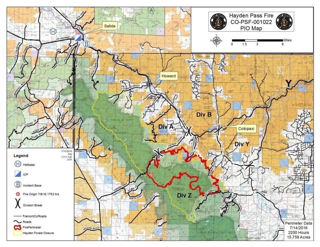 Hayden Pass Fire perimeter map