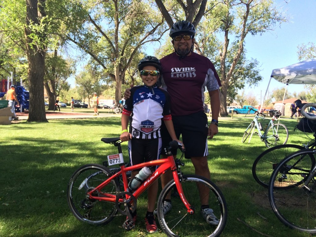 Pat Cabrera and his son Nate of Swink trained to do the first leg together.