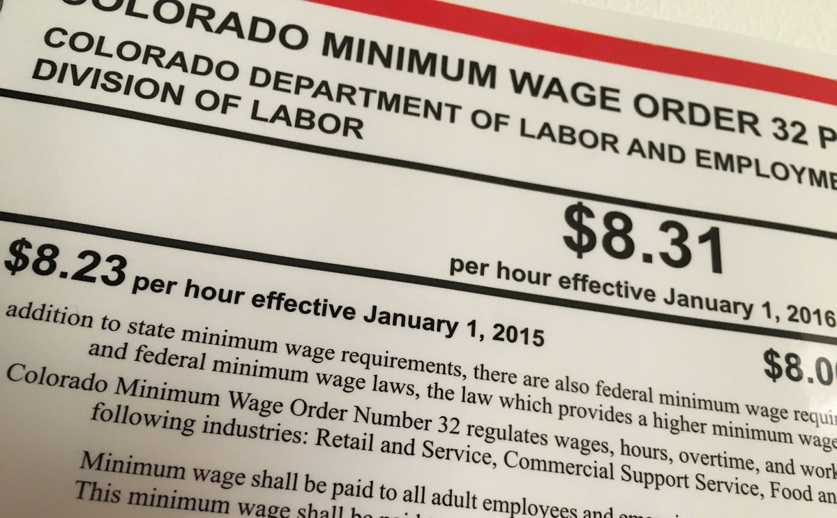 The current minimum wage in Colorado is $8.31. Voters will decide in November if that should go up.