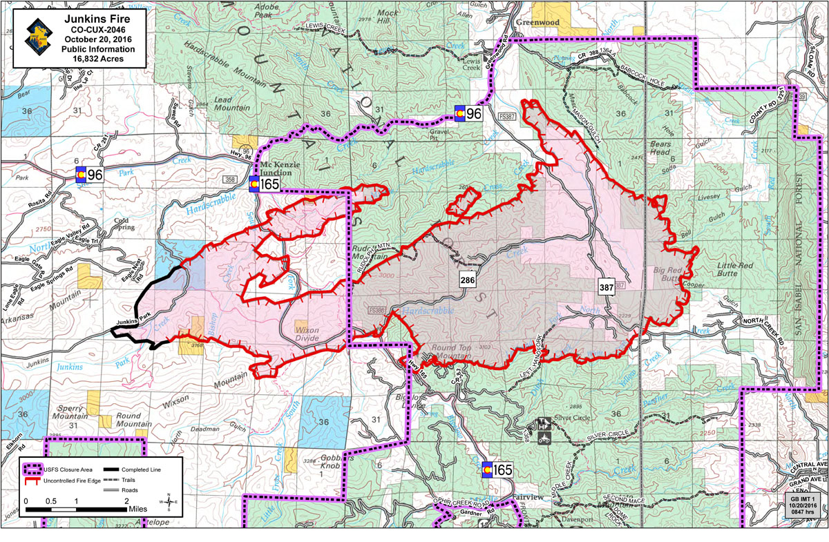 A map of the Junkins Fire, released in the morning hours of October 20, 2016