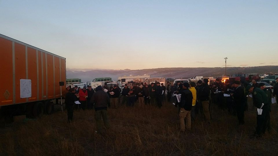 Crews prepare to head out to the Beulah Hill Fire Wednesday morning