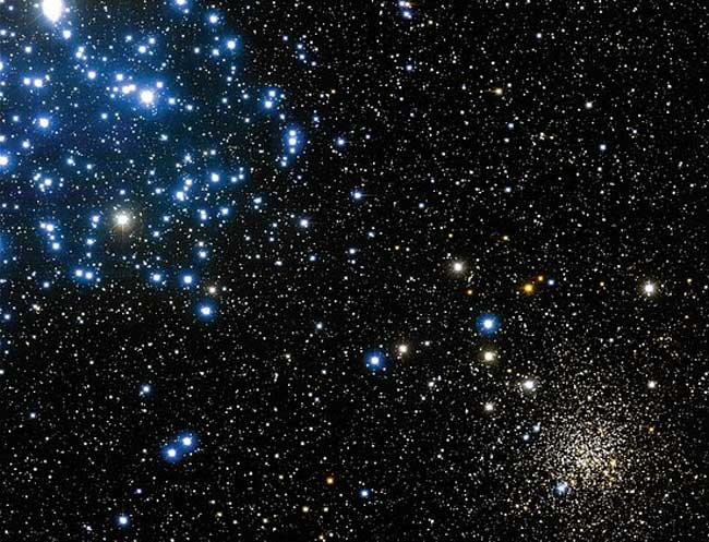 M35, pictured above on the upper left. An older and more compact open cluster, NGC 2158, is visible above on the lower right.