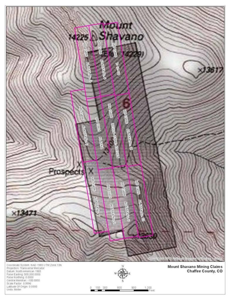 Mining claims on Mount Shavano