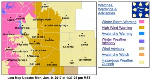 A high wind advisory was in place for much of Monday throughout the I-25 corridor and west.