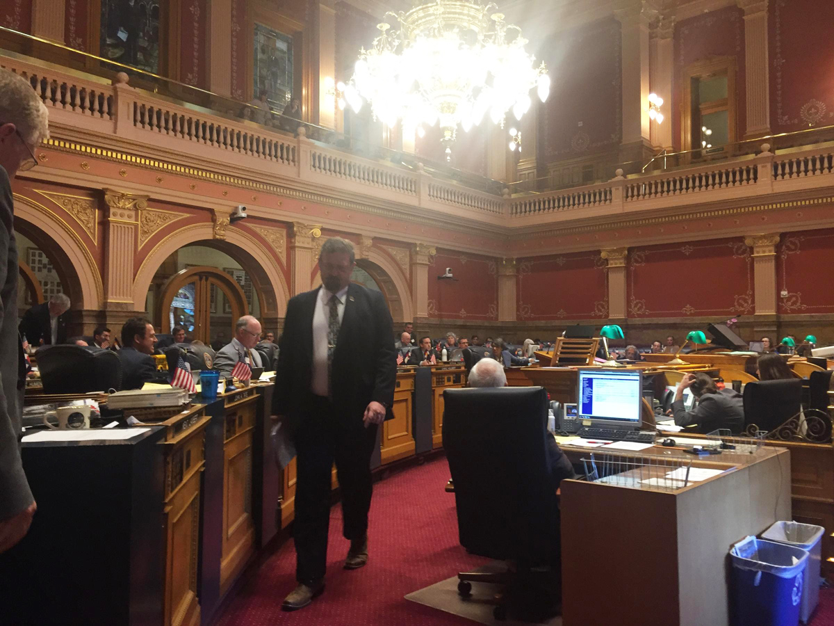 Republican Senate President Kevin Grantham leaves the podium after urging a yes vote on the budget, even though he said he didn't get everything he wanted.