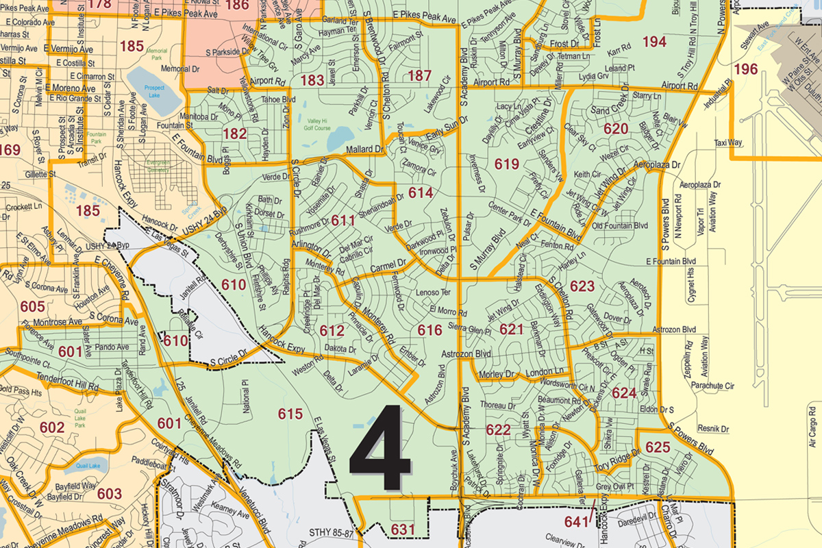 A portion of Colorado Springs City Council District 4, which is in the southern part of the city