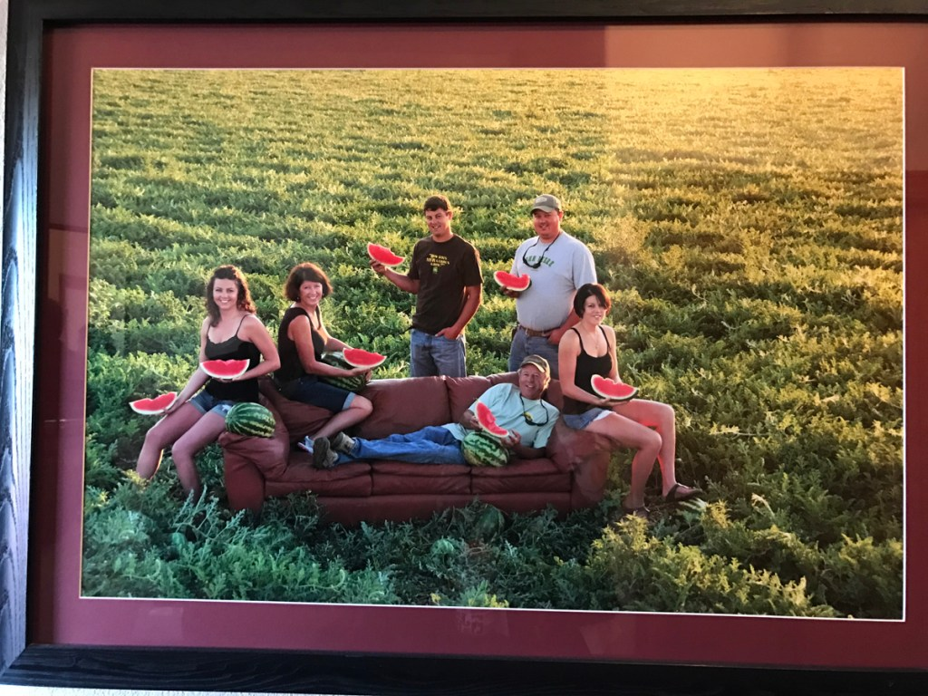 This framed photo of the Knapp family was once a Christmas card