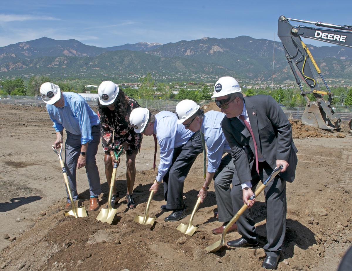 A ceremonial groundbreaking marked the start of construction on the United States Olympic Museum and Hall of Fame. L-R: Dick Celeste, Benita Fitzgerald-Mosley, John Suthers, John Hickenlooper, Scott Blackmun