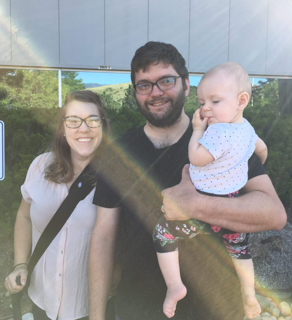 Emily, Christopher, and (9-month-old) Penelope Curry drove down from Englewood, CO, to attend the eclipse party at the Space Foundation Discovery Center in Colorado Springs.