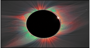 This image of the solar corona is a color overlay of the emission from highly ionized iron lines, with white light images added below. Different colors provide unique information about the temperature and composition of solar material in the corona.