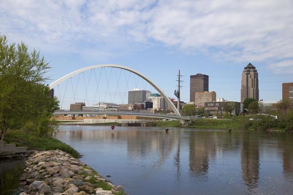 Des Moines River in Des Moines, Iowa. 2016.