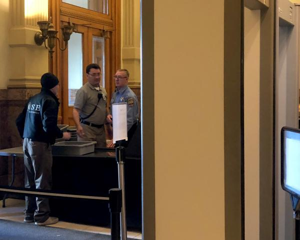 A security checkpoint at the Colorado Capitol on Monday, Feb. 26, 2018.