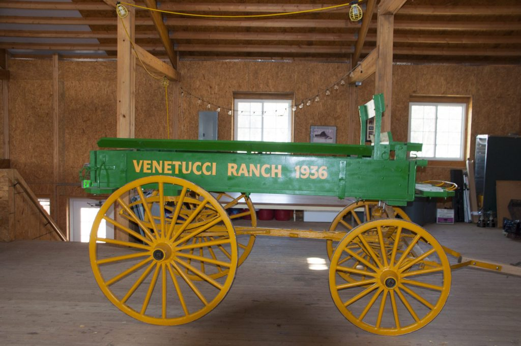 A historic farm cart in the barn at Venetucci Farm.