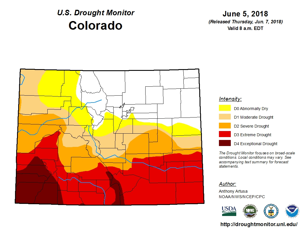 "The latest drought monitor map shows much of southern Colorado in ""severe"" or ""extreme"" drought."