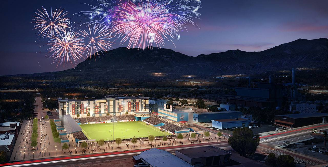 A rendering of the proposed downtown soccer stadium, future home of the Colorado Springs Switchbacks.