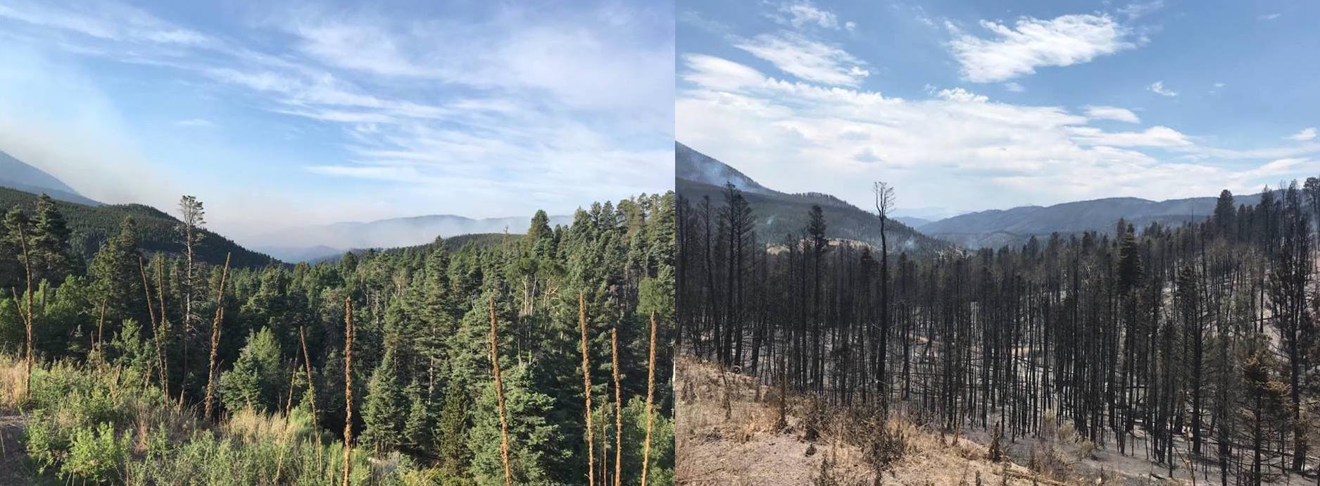 These photos show the summit of La Veta Pass looking southeast before and after the Spring Fire. Highway 160 reopened briefly before being closed again due to fire activity.