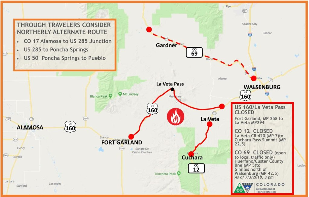 Road closures from the Colorado Department of Transportation.