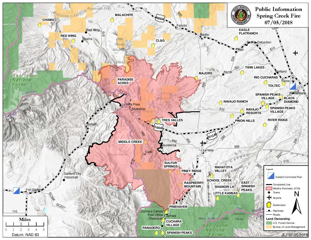 An updated map showing the growth of the Spring Fire as of Thursday, July 5.