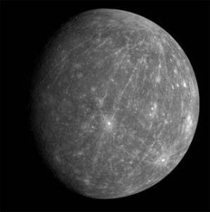 This picture of Mercury was taken by NASA's MESSENGER spacecraft.