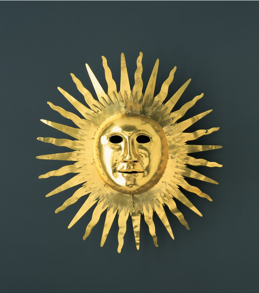 Sun mask with facial features of August #2 (the strong) as Apollo